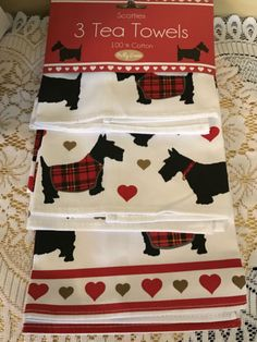 SET-of-3-Milly-Green-SCOTTIE-Tea-Towels-Kitchen-Dish-Scottish-Terrier-Dogs-NEW