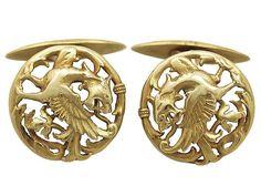 18 ct Yellow Gold Lion Rampant Cufflinks - Antique Circa 1890  SKU: A2132 Price  GBP £1,950.00  http://www.acsilver.co.uk/shop/pc/18-ct-Yellow-Gold-Lion-Rampant-Cufflinks-Antique-Circa-1890-261p7218.htm#.VdG59PlmqzQ