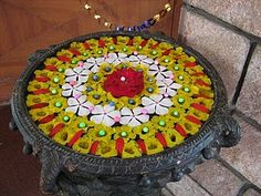 flower rangoli in water