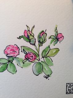Budding Roses Watercolor Card by gardenblooms on Etsy, $3.50