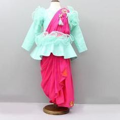 Pre Order: Peplum Top With Drape Saree Style Skirt Baby Summer Dresses, Wedding Dresses For Kids, Baby Girl Party Dresses, Dresses Kids Girl, Kids Outfits, Baby Dress Design, Baby Girl Dress Patterns, Frock Design, Half Saree Function
