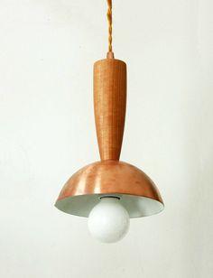 Mid Century Copper Pendant Lamp Modern Ceiling Lighting Copper Ceiling Light Wood Pendant Copper Hanging Lights Modern Pendant Copper Lamp - $128.00