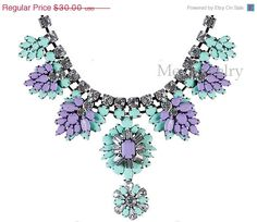 Shourouk Inspired Layer Vintage Necklace Flower Statement Jewelry, Bubble Crystal Choker Necklace, Charm Wedding Necklace (N0895-Mint)