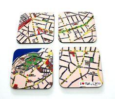 I LOVE TLV map coasters  a souvenir from Tel Aviv by efratul