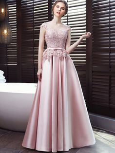 Pink lace solid color sleeveless backless slim prom dresses with Mermaid Midi Dress, Formal Dresses Australia, Hijab Dress Party, Dress Brokat, Evening Dresses With Sleeves, Pink Gowns, Moda Fashion, Occasion Dresses, Elegant Dresses