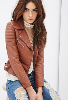 Quilted Faux Leather Moto Jacket for only $45.90
