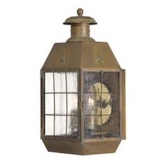 Outdoor Wall Light with Clear Glass in Aged Brass Finish