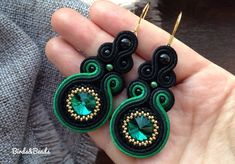 Photo from birds_and_beads Macrame Earrings Tutorial, Earring Tutorial, Denim Earrings, Fashion Earrings, Handmade Necklaces, Handmade Jewelry, Unique Jewelry, Soutache Necklace, Beaded Earrings