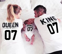 Bkld 2016ホット家族王女王レタープリントシャツ、100%コットンtシャツ母父息子服マッチングトップス