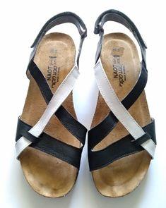 98e9a74f2 NAOT Malibu Sandals Black and white Leather T Strap Open Toe Sz 39 (US 7.5)  #Naot #SlideswTstrap #Casual