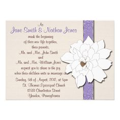 Magnolia Dreams  This beautiful invitation is the perfect combination of rustic and classic elegance for your upcoming wedding. The background is a soft cream that has been digitally textured to look like burlap, it is then accented with a beautiful satin look floral patterned ribbon in a soft lilac purple that has just a tiny gold edge and is topped with a beautiful magnolia bloom. All text is fully customizable front and back. ****All elements are flat and smooth, the texturing, sh