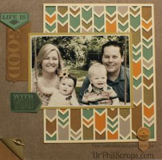Scrapbook layout made using CTMH Huntington Paper and Cricut Artbooking cartridge - http://DrPhilScraps.com