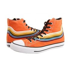 Shop chuck taylor all star retro strip print hi orange