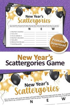 New Years Eve Games, New Years Activities, Holiday Party Games, Holiday Parties, Christmas Family Feud, Family Feud Game, New Year's Games, Letter N Words, Printable Designs