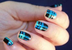 This tartan design comes from the Moyou plate Hipster 05, stamped in black over a blue and mint base. - Nailpolis: Museum of Nail Art