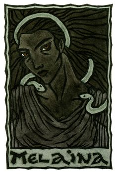 "Melaina (""The Black One"") is the under-earth or chthonic aspect of the Greek Great Goddess, said to bring nightmares. Different Goddesses are called by Her name."