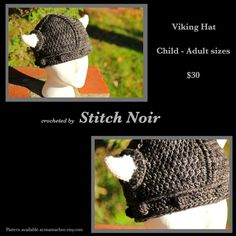 Lil' person Viking hat :) Two made for a custom order.sized to fit lovely variegated wool with soft, stuffed horns Arm Warmers, Horns, Vikings, Crochet Hats, Wool, Stitch, Fit, The Vikings, Knitting Hats
