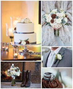 gray+and+brown+winter+wedding+cake
