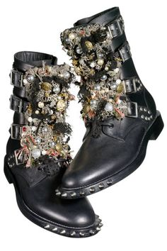 Tell me these aren't freaking INCREDIBLE! Punk rock! These are Saint Laurent by Hedi Slimane embellished leather boots.