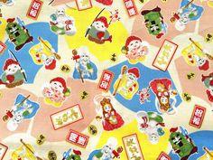 Japanese Fabric Japanese 7 Lucky Gods  1/2 Yard 100% Cotton F72