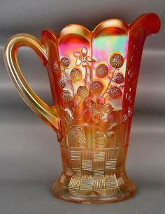 """This Northwood marigold carnival glass """"GRAPE & CABLE"""" water pitcher is in excellent condition. Fenton Glassware, Antique Glassware, Carnival Glass, Cut Glass, Glass Art, Vintage Carnival, Stained Glass Designs, Indiana Glass, Antique China"""