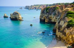 striking rock formations at Lagos coastline in Portugal! Hotels In Lagos, Portugal, Destinations, Down The River, Best Hotel Deals, Beautiful Park, Four Seasons Hotel, Family Adventure, Beach Hotels
