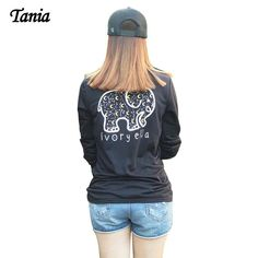 Elephant printed long sleeve t shirts loose casual t-shirts tops ladies fashion clothing plus size S~2XL