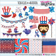 4th of July Clipart, 4th of July Graphics, COMMERCIAL USE, Kawaii Clipart, Planner Accessories, 4th of July Party, Independence Day, Cute