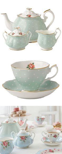 Blue polka dot tea set // cute! #product_design