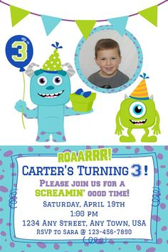 Monster Inc. Birthday Invitation (Boy)