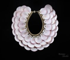 Pink Moon Shell Necklace Tribal New Guinea Brown Braided Rope Circular Neck Adornment Ethnic Jewelry/