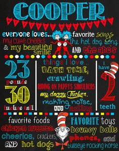 Dr Seuss Birthday Chalkboard Sign DIGITAL FILE ONLY This item is completely customizable. When you order please indicate anything you want