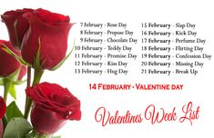 Complete List of Valentine Week with dates and name. Anti or after valentine week lists also added in this picture. Use it as your wallpaper and dont forget dates till last day. #valentineweek #antivalentine #aftervalentine #weekdays #list #dates #name #valentinedays #loveweek