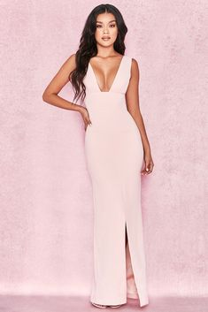 HOUSE OF CB  Narelle  Baby Pink Plunge Neck Maxi Dress M 10   12 88c051909