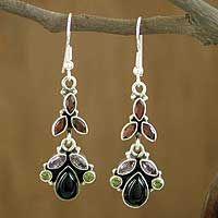 $50 Onyx and amethyst dangle earrings, 'Abundance'