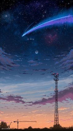 Anime Backgrounds Wallpapers, Anime Scenery Wallpaper, Animes Wallpapers, Blue Wallpaper Iphone, Night Sky Wallpaper, Your Name Wallpaper, Aesthetic Japan, Aesthetic Anime, Aesthetic Images