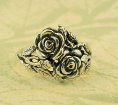 Rose Ring Silver  Flower Ring  Rose Jewelry Flower by martymagic, $85.00