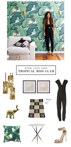 Tropical Mod Glam - Smallshopstudio.com. Need the banana leaf pillows!