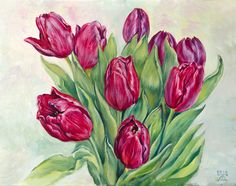 The purple tulips. Oil on canvas/cardboard. 30x24 cm.  Original oil painting by Daria Artwind http://www.artwind.me/2016/02/the-purple-tulips-oil-painting.html