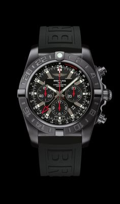 Limited Edition Chronomat GMT traveler's watch by Breitling - Black steel case, onyx black dial, black Diver Pro III strap.