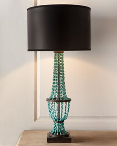 Turquoise Drape Table Lamp - Horchow - Lamp Option 2 - We could change the shade if the satin black is not to your liking.  The shape of the draping beads is evocative of the dining table base.