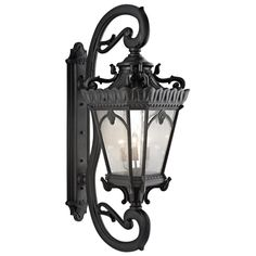 Kichler Five Light Textured Black Wall Lantern - 9362BKT - Gothy looking - would be cool to drape red crystals from it ($4,730)