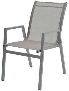 Cadeira Enseada com Bracos Tela Cinza Base Cinza - 38738 - Sun House - Móveis para Jardim e Área Externa - Magazine Luiza