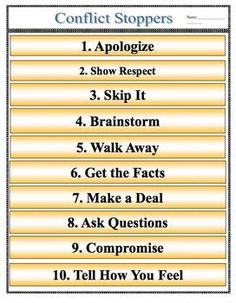 CONFLICT RESOLUTION POSTER PDF FILE- CONFLICT STARTERS & CONFLICT STOPPERS - TeachersPayTeachers.com