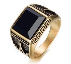 Gold Plated Square Agate Vintage Signet Rings with Masonic Symbol