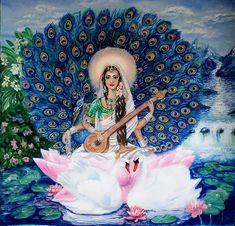 my goddess astrology sun in sidereal aquarius ~ Saraswati Indian Goddess, Goddess Art, Orisha, Saraswati Painting, Arte Krishna, Saraswati Goddess, Indian Art Paintings, India Art, Hindu Deities
