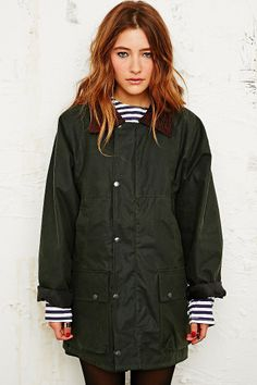 Vintage Renewal Oversized Wax Jacket in Green - Urban Outfitters