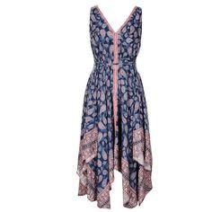 BOHO BORDER MAXI DRESS ($43) ❤ liked on Polyvore featuring dresses, floral, sleeveless maxi dress, bohemian dress, v neck maxi dress, maxi dress and floral print dress