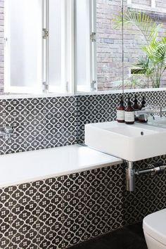 Moroccan Pattern | Black White Color | Bathroom Ideas | Bath Tile | Home Improvement | Interior Design