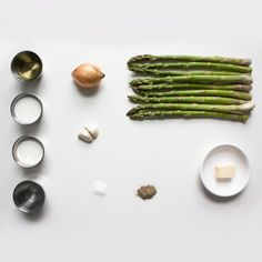 ingredients for an asparagus soup. #thingsorganizedneatly